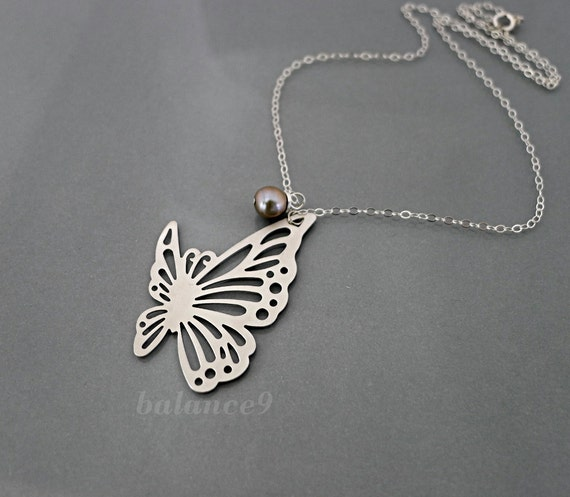 Butterfly Necklace, sterling silver chain, filigree flying butterfly charm pendant, everyday jewelry, by balance9