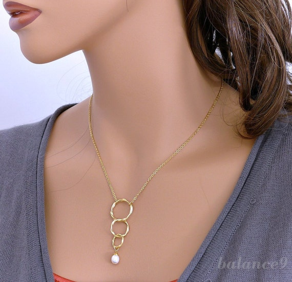 Circles necklace, gold twist rings charm pendant, white pearl, delicate everyday, bridesmaid jewelry, wedding, by balance9
