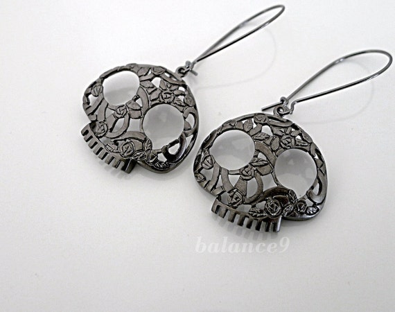 Skull Earrings, black flower skull charm kidney dangle, halloween gift jewelry, sugar skull, by balance9