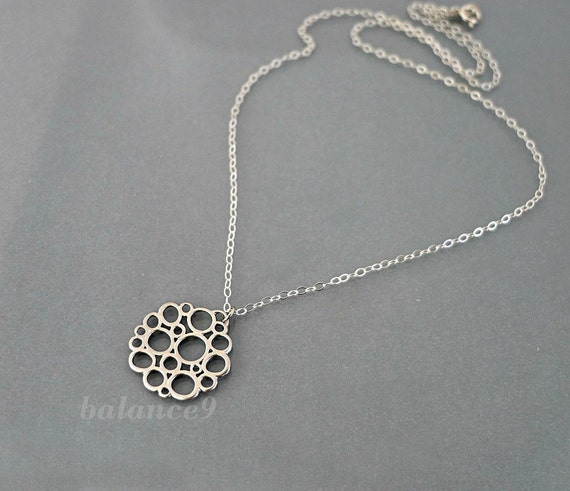Bubble necklace, Sterling silver chain, delicate charm pendant, everyday jewelry, by balance9