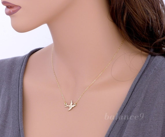 Flying bird necklace, dainty bird necklace, Sparrow charm pendant, 14k gold filled chain, delicate everyday jewelry, by balance9