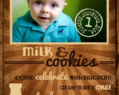 25% off MILK & COOKIES Birthday Invitation or any occasion -- Custom Photo Card or NO photo