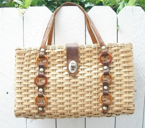 Vintage Structured Woven Basket Purse with Leather Handles - Spring Summer