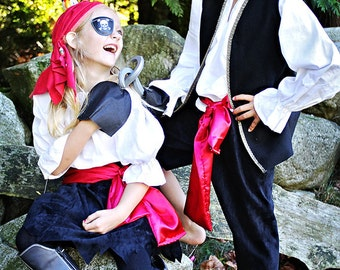 Handmade Pirate Costume children size 1 through 5 for boys