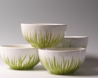 Etsy's front page, bowls, green grass ceramic bowls, serving set of 3, by Jessica Howard Ceramics