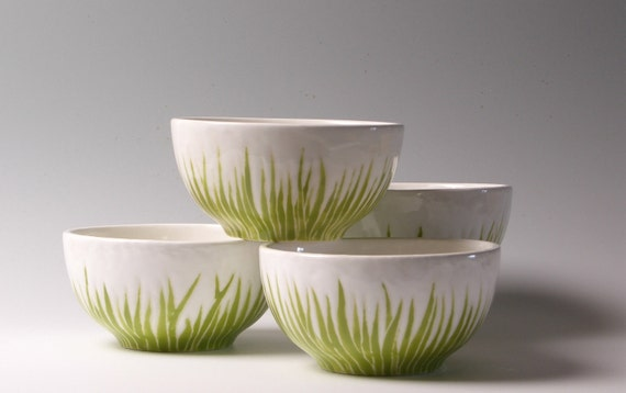 Pantone color of the year, greenery Etsy's front page, bowls, green grass ceramic bowls, serving set of 3, by Jessica Howard Ceramics