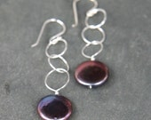 Silver Circle and Black Coin Pearl Earrings