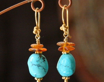 Turquoise and Amber Chip Gold Earrings