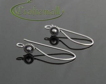 2 Sterling Silver Earwires - Small Round Bali Ornament 25mm / 1 Inch - bfew019