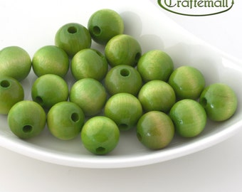 Wooden Beads - Round - Lime Green 16mm - 10 Beads