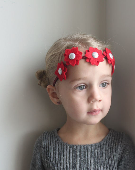 Christmas headband - Mini Poinsettia Flower Headband - Holiday Garland  - red felt flowers with sparkle centers and glitter band