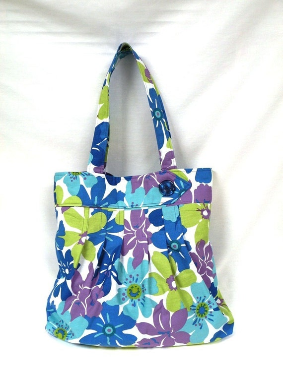 SALE Multi-Pleat Shoulder Bag in Tropical Floral Print in blue/aqua/green/lilac