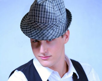 Vintage Nagy-Hüte Wien Fedora - Austrian Made in Gray and Blue