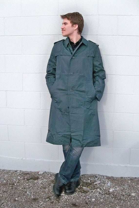 """Vintage Trench Coat Style Army Surplus Rain Jacket  """"Lightweight and Perfect for Travel"""""""