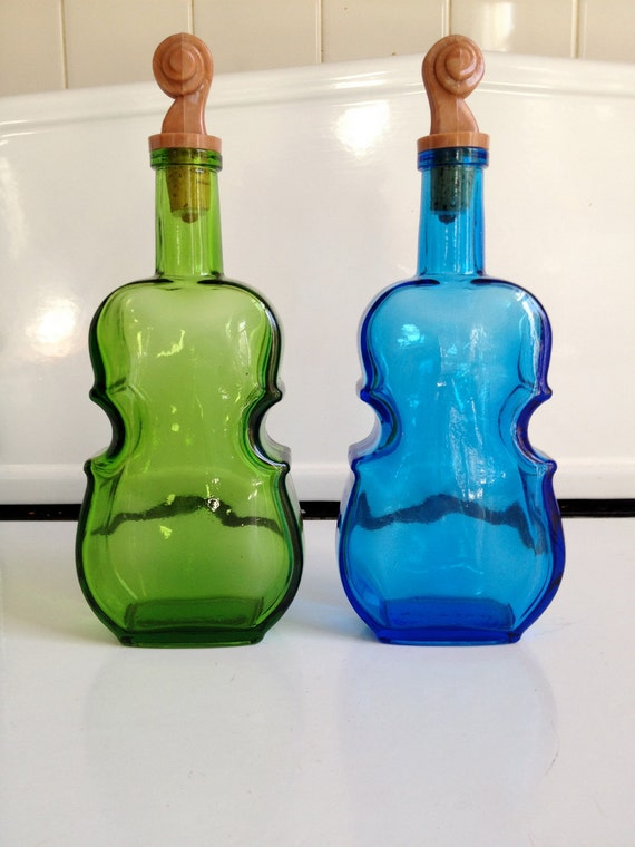 Wheaton Violin Decanters, Set of Two