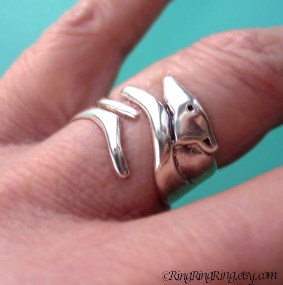 Greyhound ring dog ring jewelry Sterling Silver Ring Unique ring Adjustable ring Greyhound Jewelry Dog Jewelry animal ring  R-033