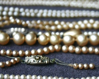 Precious pearls. Vintage rescued bead necklace parts.