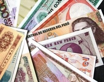 Money money money. Vintage banknotes bills collection.