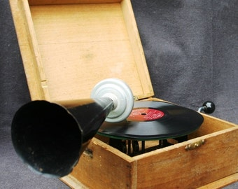 Stunning collectible mini gramophone. Antique musical toy.
