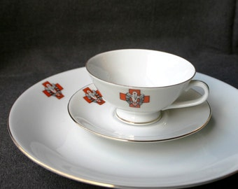 Red Cross vintage cup of tea and dessert plate set