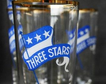 Three stars. Series of vintage beer glasses. Man cave gift idea.