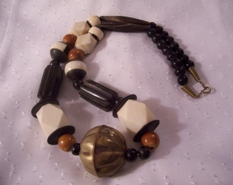 Black Necklace Gold Tone Vintage Beige Wood Brass Carved Beads Assorted Shapes
