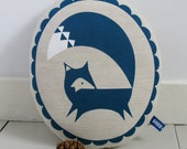 Hand Screen Printed Fox in French Navy