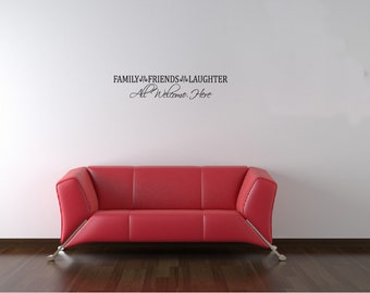 Wall Decals Wall Words Art Wall Stickers Vinyl Lettering - Family Friends Laughter All Welcome Here