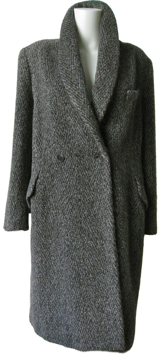 Chic vintage 1980s Max Mara Gray and Black Wool and Alpaca Coat