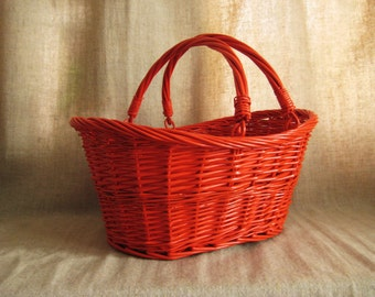 Large Painted Basket in Fire Orange / Large Upcycled Vintage Basket / Picnic Basket / Colorful Storage and Organization for Home Decor