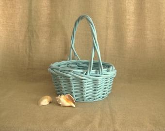 Summer Sale Aqua Blue Basket / Shabby Basket in Aqua Blue for Wedding or Home Decor