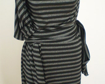 Black and Grey Stripe Wrap Dress