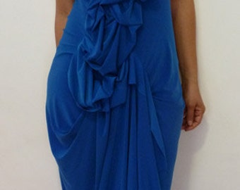 Royal Blue Dress with Ruffles