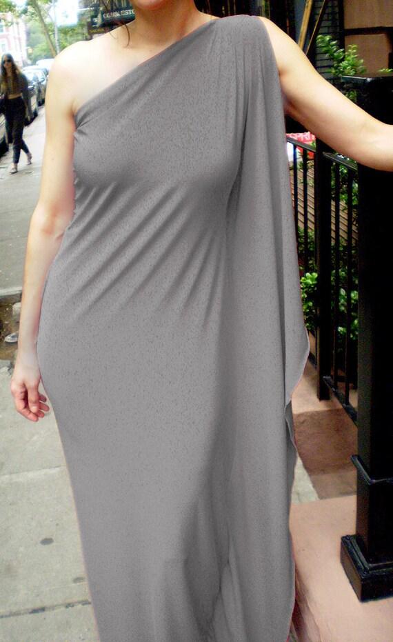 Sale on Gray Goddess One Shoulder Evening Dress, long drape dress,handmade by Cheryl Johnston to fit you