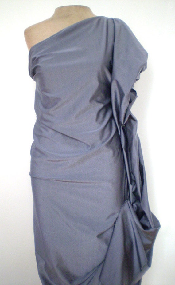 Gray One Shoulder Evening Shiny Spandex Puff Dress,custom made for you, by Cheryldine