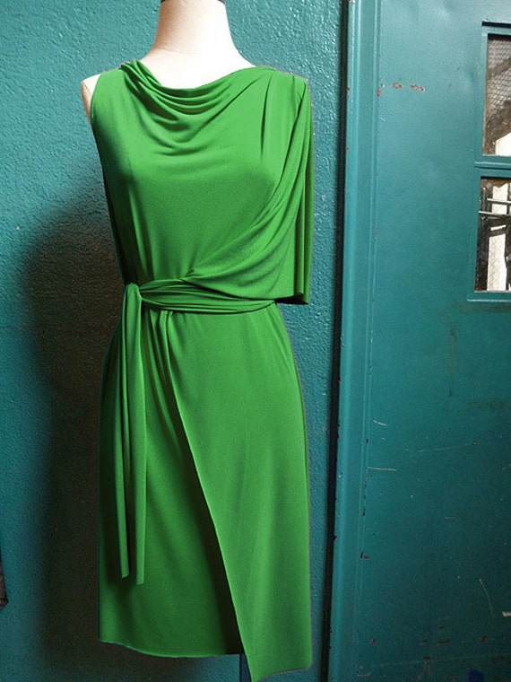 Kelly Green Faux Wrap Dress, Jersey fabric,travel dress,sleeveless,drape neckline,Handmade by Cheryl Johnston