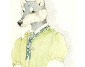 Dog Print Husky dog in a Green Frock Illustration 8x11