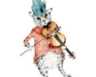 Cat Print Cat Fiddle Illustration print 8x11