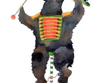 Bear Giclee Print. Bear on a unicycle 5x7 illustration