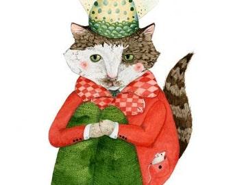 Cat art print Cat drawing Cat Painting Cat print Cat Print Cat in a Fishtailed Hat 8x11 illustration Giclee Cat art print