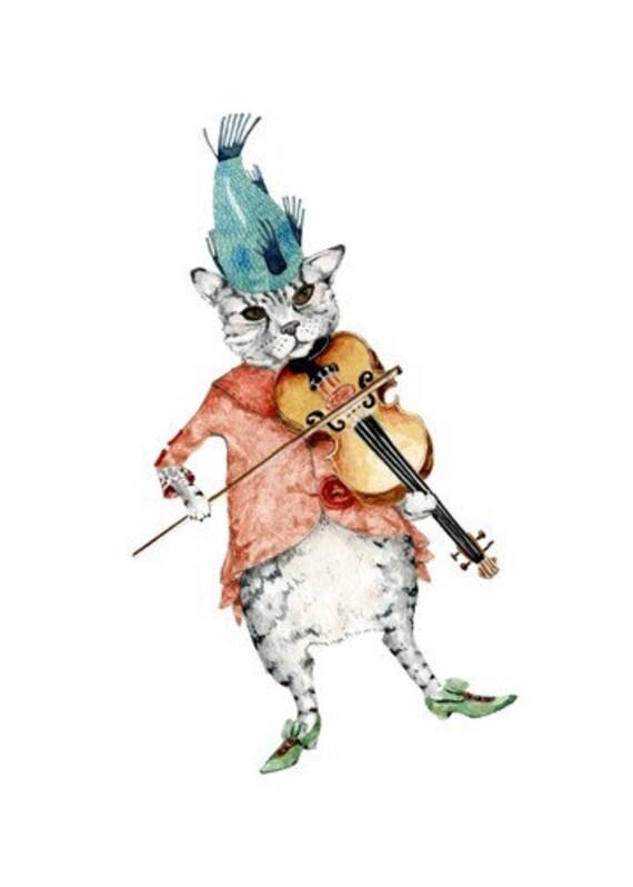 Cat Print Cat Fiddle Illustration print 8x11