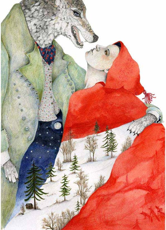 Wolf and Red Riding Hood Print illustration 8x11