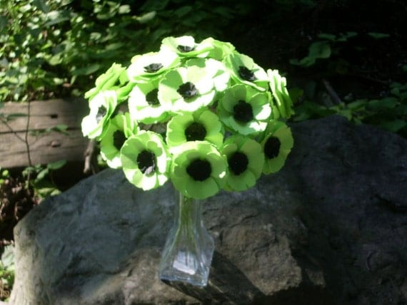 Poppy Love Paper Flowers - Lime Green colors - set of 24 on STEMS