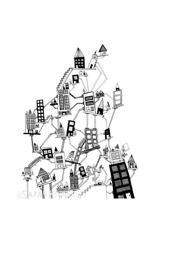 Black and White Illustration of Houses and Buildings in a Crooked City - Black and White Ink Drawing Print 8x10