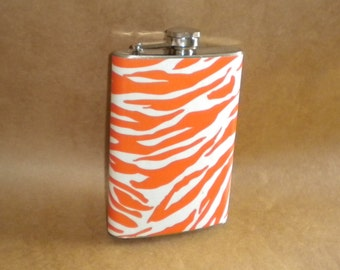 Orange and White Zebra Print Stainless Steel Gift Hip Flask 8 Ounces