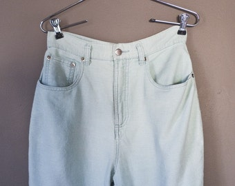 Calm waters... vintage high waisted pants in a light seafoam blue