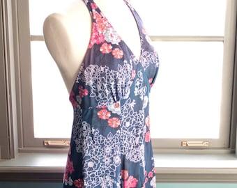 Josephine... Slinky vintage MAXI HALTER DRESS, floral bouquet