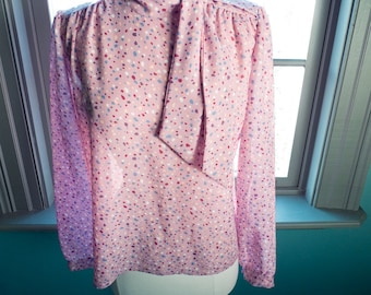 Vintage semi SHEER and FLOATY long sleeve secretary BLOUSE