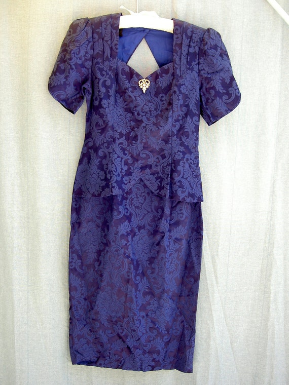 sale / Vintage 80s Brocade Prom Dress