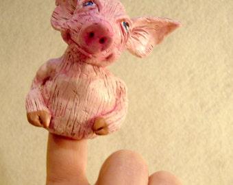 Pink Pig finger puppet, hand made, OOAK